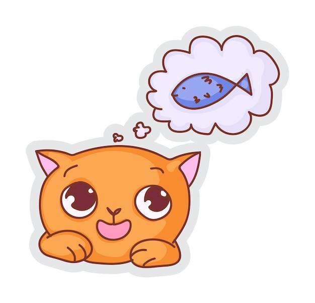 Etiqueta engomada linda del sueño del hambre del gato aislada en blanco
