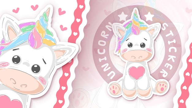 Etiqueta engomada linda del unicornio para tu idea dibujar a mano