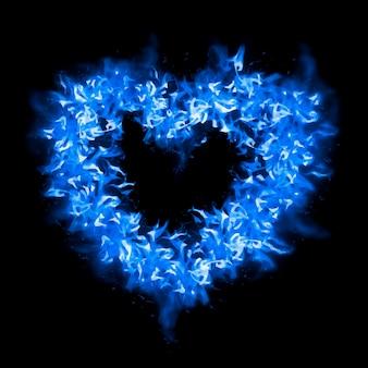 Etiqueta engomada de la llama del corazón, vector de diseño creativo azul