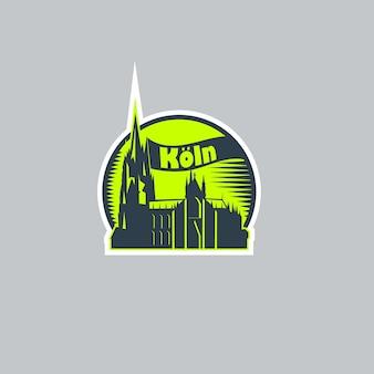 Etiqueta engomada del logotipo abstracto de la ciudad de colonia.