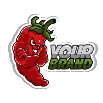 Etiqueta engomada del logotipo de chile