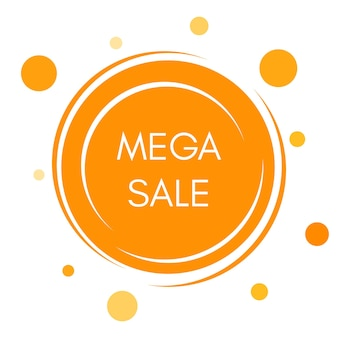 Etiqueta engomada de la mega venta con formas redondas amarillas abstractas. ilustración vectorial