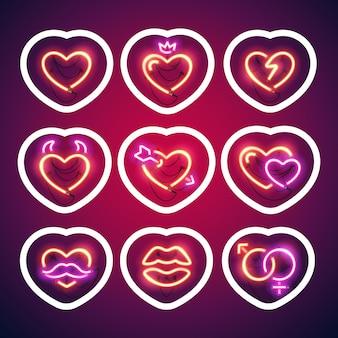 Etiqueta engomada de neón brillante de los corazones de la tarjeta del día de san valentín con el movimiento