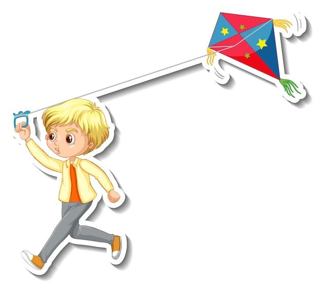 Etiqueta engomada de un niño jugando personaje de dibujos animados de cometas
