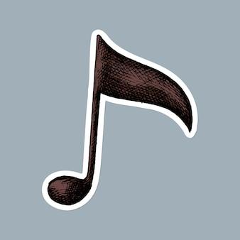 Etiqueta engomada de la nota musical del temblor