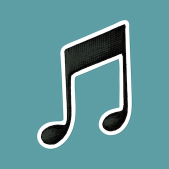 Etiqueta engomada de la nota musical de la viga del vector