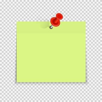 Etiqueta engomada de la nota de papel vacía de color con pin rojo para texto de oficina o mensajes de negocios.