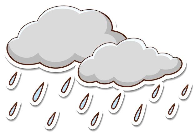 Etiqueta engomada de la nube de lluvia sobre fondo blanco