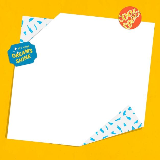 Etiqueta engomada de la palabra marco de papel doblado