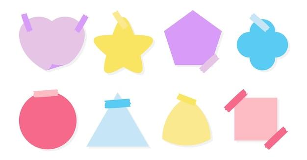 La etiqueta engomada de papel de color plano establece varias formas bloc de notas vacío de mensajes recordatorios plantilla de planificador nota en blanco etiqueta de papel y cinta adhesiva para niños organizador de notas aislado en la ilustración de vector blanco
