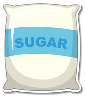 Etiqueta engomada del paquete de la bolsa de azúcar sobre fondo blanco