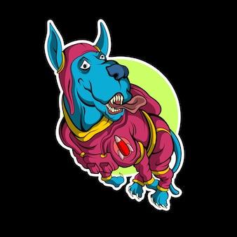 Etiqueta engomada del perro espacial en la oscuridad