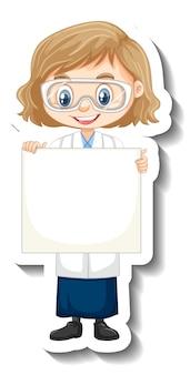 Etiqueta engomada del personaje de dibujos animados con una chica en bata de ciencia sosteniendo pancarta vacía