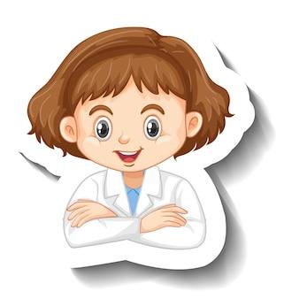 Etiqueta engomada del personaje de dibujos animados con una chica en bata de ciencia