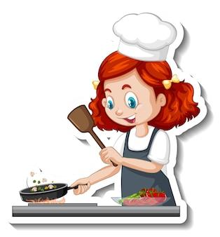 Etiqueta engomada del personaje de dibujos animados con chica chef cocinando