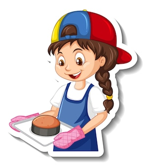 Etiqueta engomada del personaje de dibujos animados con chica chef sosteniendo bandeja horneada