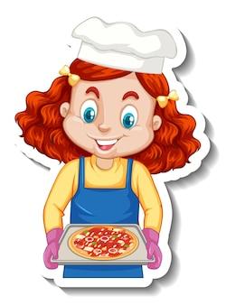 Etiqueta engomada del personaje de dibujos animados con chica chef sosteniendo bandeja de pizza