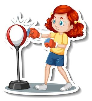 Etiqueta engomada del personaje de dibujos animados con una chica golpeando