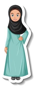 Etiqueta engomada del personaje de dibujos animados de mujer musulmana sobre fondo blanco