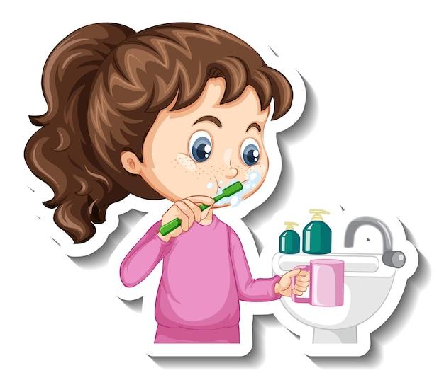 Etiqueta engomada del personaje de dibujos animados con una niña cepillándose los dientes