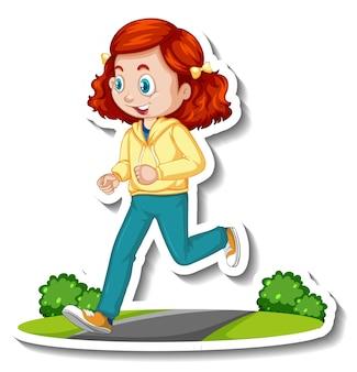 Etiqueta engomada del personaje de dibujos animados con una niña corriendo sobre fondo blanco