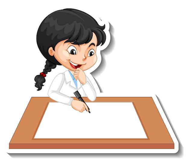Etiqueta engomada del personaje de dibujos animados con una niña escribiendo en papel en blanco