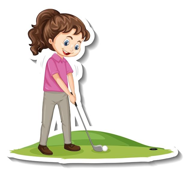 Etiqueta engomada del personaje de dibujos animados con una niña jugando al golf