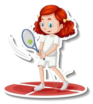 Etiqueta engomada del personaje de dibujos animados con una niña jugando al tenis