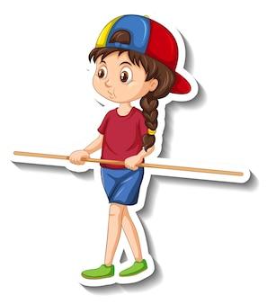 Etiqueta engomada del personaje de dibujos animados con una niña sosteniendo un palo de madera