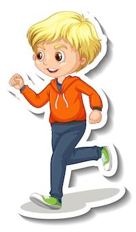 Etiqueta engomada del personaje de dibujos animados con un niño corriendo sobre fondo blanco