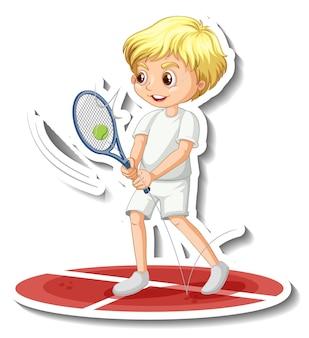 Etiqueta engomada del personaje de dibujos animados con un niño jugando al tenis