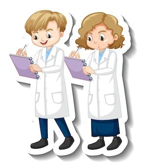 Etiqueta engomada del personaje de dibujos animados con niños en bata de ciencia