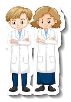 Etiqueta engomada del personaje de dibujos animados con una pareja de científicos en bata de ciencia