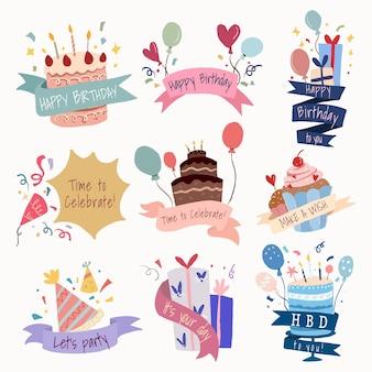 Etiqueta engomada de la plantilla de celebración, conjunto de vectores de fiesta de cumpleaños