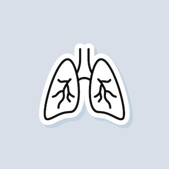 Etiqueta engomada de los pulmones. icono de pulmones sanos. concepto de salud. vector sobre fondo aislado. eps 10.