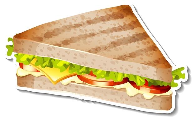Etiqueta engomada de sándwich a la parrilla sobre fondo blanco