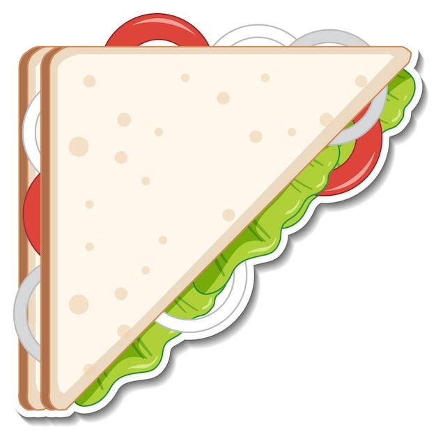 Etiqueta engomada del sándwich de triángulo sobre fondo blanco