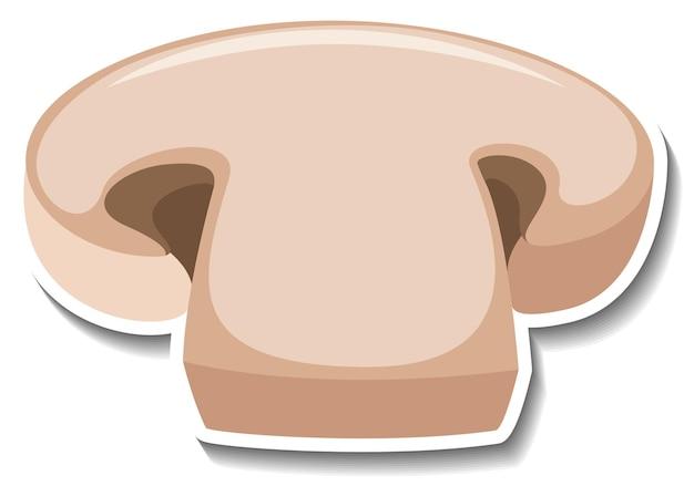 Etiqueta engomada de la seta del champiñón en rodajas sobre fondo blanco