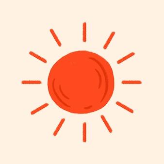 Etiqueta engomada del sol rojo tropical en el tema de las vacaciones de verano
