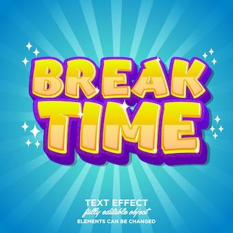 Etiqueta engomada del tiempo de descanso, efecto de fuente de dibujos animados modernos