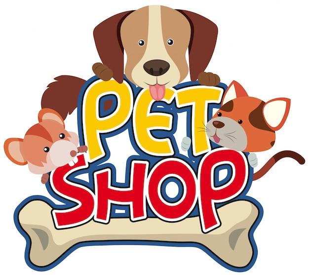 Etiqueta engomada de la tienda de mascotas con mascota linda