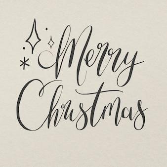 Etiqueta engomada de la tipografía de la feliz navidad, vector de letras de tinta dibujado a mano