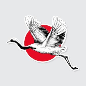 Etiqueta engomada tradicional japonesa de la grulla de corona roja con borde blanco