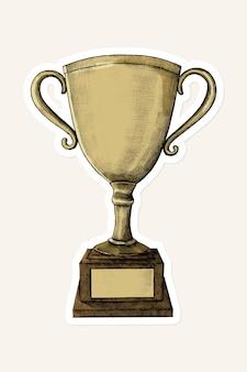 Etiqueta engomada del trofeo de oro de la vendimia del vector