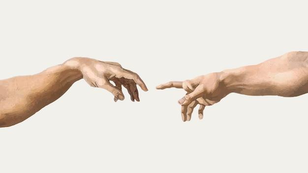 Etiqueta engomada del vector de la mano de dioses, pintura famosa de la creación de adán, remezclada de obras de arte de michelangelo buonarroti