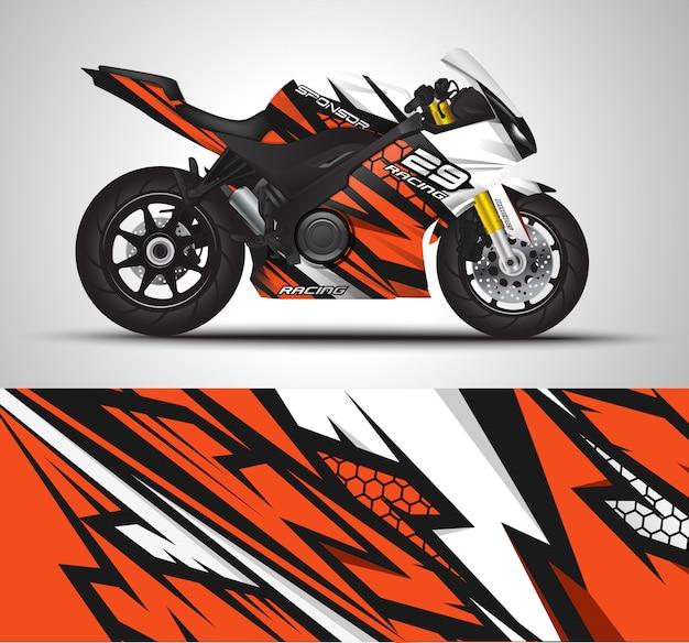 Etiqueta de envoltura de motocicleta e ilustración de etiqueta de vinilo.