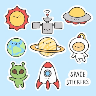 Etiqueta de espacio colección de dibujos animados dibujados a mano