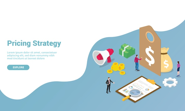 Etiqueta de estrategia de precios con financiación de dinero y gráfico para plantilla de sitio web o página de inicio
