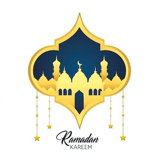 Etiqueta con estrellas colgando y castillo a festival de religión.