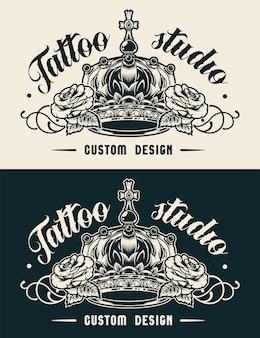 Etiqueta de estudio de tatuaje vintage